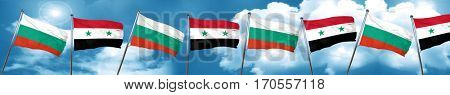 bulgaria flag with Syria flag, 3D rendering