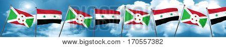 Burundi flag with Syria flag, 3D rendering