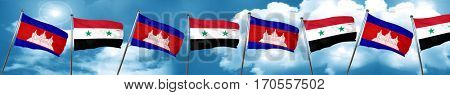 Cambodia flag with Syria flag, 3D rendering