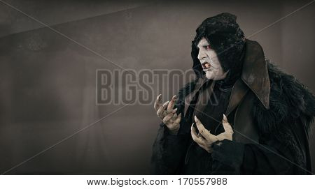 Ancient Horror Mutant Vampire With Large Scary Nails. Text Place