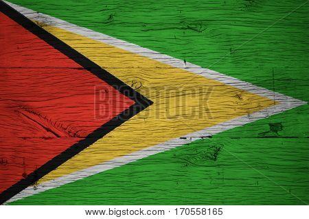 Guyana National Flag Painted Old Oak Wood