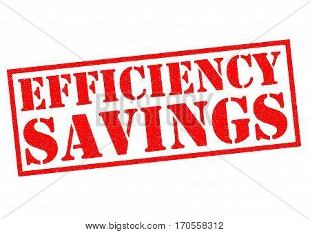 EFFICIENCY SAVINGS red Rubber Stamp over a white background.