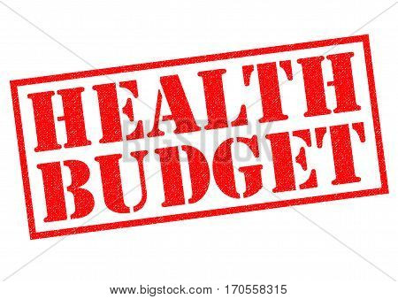 HEALTH BUDGET red Rubber Stamp over a white background.