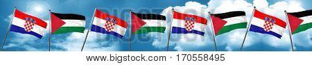 croatia flag with Palestine flag, 3D rendering