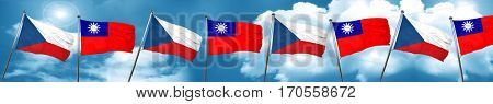 czechoslovakia flag with Taiwan flag, 3D rendering