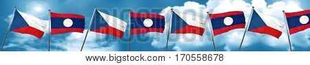 czechoslovakia flag with Laos flag, 3D rendering