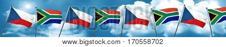 czechoslovakia flag with South Africa flag, 3D rendering