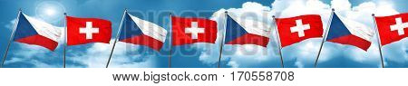 czechoslovakia flag with Switzerland flag, 3D rendering