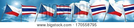 czechoslovakia flag with Thailand flag, 3D rendering