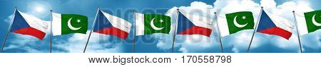 czechoslovakia flag with Pakistan flag, 3D rendering