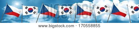 czechoslovakia flag with South Korea flag, 3D rendering