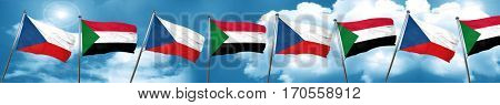 czechoslovakia flag with Sudan flag, 3D rendering