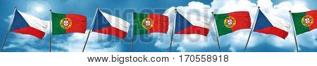 czechoslovakia flag with Portugal flag, 3D rendering