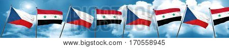 czechoslovakia flag with Syria flag, 3D rendering