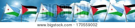 Djibouti flag with Palestine flag, 3D rendering
