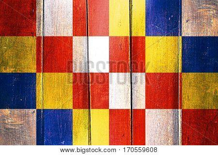 Vintage antwerp, antwerpen flag on grunge wooden panel