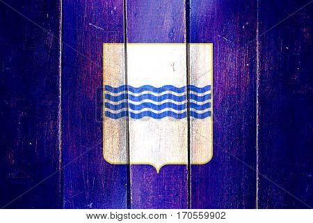 Vintage Basilicata flag on grunge wooden panel
