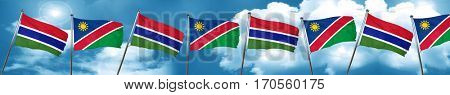 Gambia flag with Namibia flag, 3D rendering