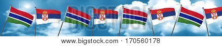 Gambia flag with Serbia flag, 3D rendering