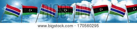 Gambia flag with Libya flag, 3D rendering