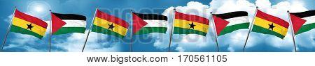 Ghana flag with Palestine flag, 3D rendering