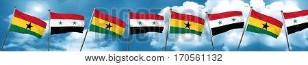Ghana flag with Syria flag, 3D rendering