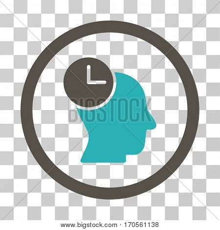 Time Thinking rounded icon. Vector bicolor illustration style is a flat iconic symbol inside a circle grey and cyan colors transparent background. Designed for web and software interfaces.