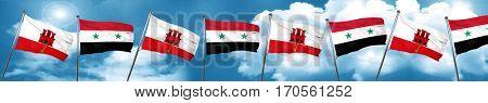 gibraltar flag with Syria flag, 3D rendering
