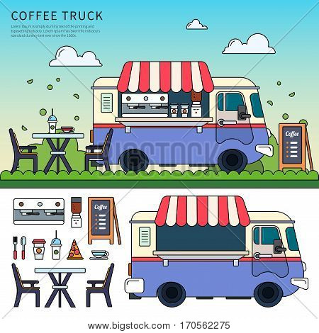Thin line flat design of coffee truck in the city on the street. Violet retro truck with hot beverages, car, table, beverages, cups, pizza, menu and coffee machine isolated on white background