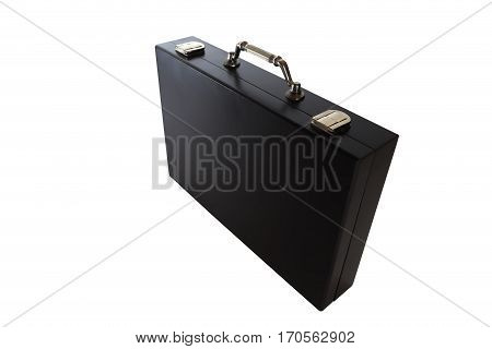 Black business case isolated on white background. Black business briefcase with shiny metal handle over white backdrop.