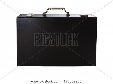 Black briefcase isolated on white background. Business suitcase over white backdrop. Black case for business paper close up.