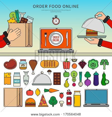 Thin line flat design of different food. Icons for order food online apps, meat, fish, vegetables, fruits, fast food, cheese isolated on white background