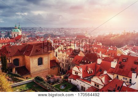St. Nicolas church, St. Vitus Cathedral and and roofs of Prague, an aerial view