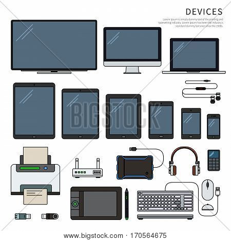 Modern gadgets. Up-to-date devices, era of technology concept. Computer, laptop, tablets, phones, printer, keyboard, head-phones isolated on white background. Thin line flat design