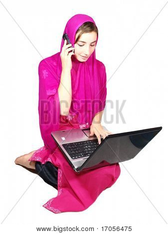 young pretty arabic girl being very busy