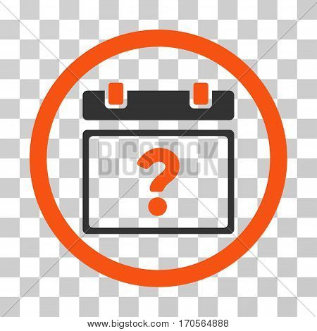 Unknown Date rounded icon. Vector bicolor illustration style is a flat iconic symbol inside a circle orange and gray colors transparent background. Designed for web and software interfaces.