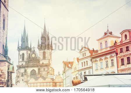 view of the Tyn Church in Prague. Czech Republic. Vintage Retro Tone effect