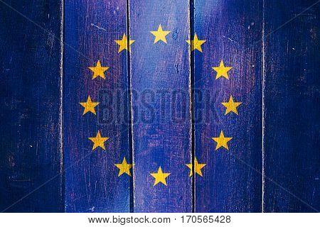 Vintage European union  flag on grunge wooden panel