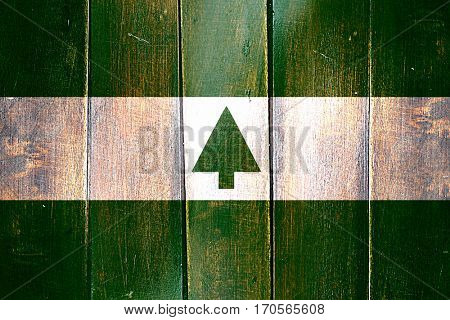 Vintage Greenbelt flag on grunge wooden panel