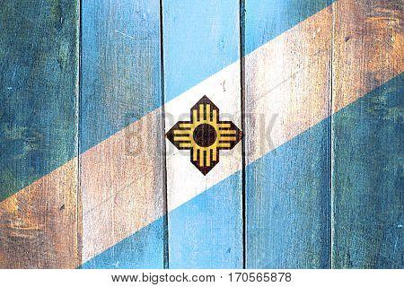 Vintage Madison flag on grunge wooden panel