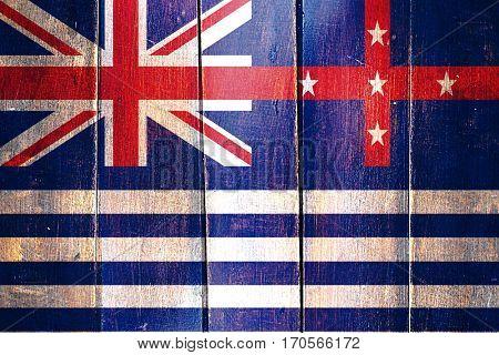 Vintage Murray river flag on grunge wooden panel