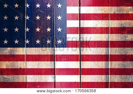 Vintage Old glory american early design flag on grunge wooden pa