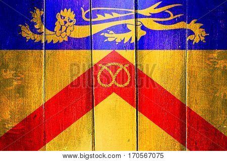 Vintage Staffordshire flag on grunge wooden panel