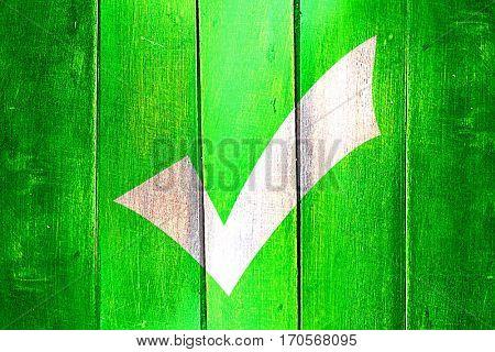 Vintage Approved tick on a grunge wooden panel