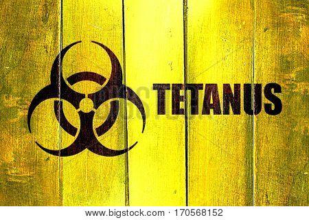 Vintage Tetanus on a grunge wooden panel