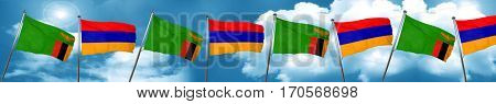 Zambia flag with Armenia flag, 3D rendering