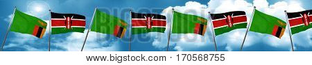 Zambia flag with Kenya flag, 3D rendering