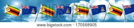 Zimbabwe flag with Cayman islands flag, 3D rendering