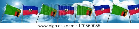 Zambia flag with Haiti flag, 3D rendering