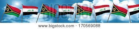 Vanatu flag with Iraq flag, 3D rendering